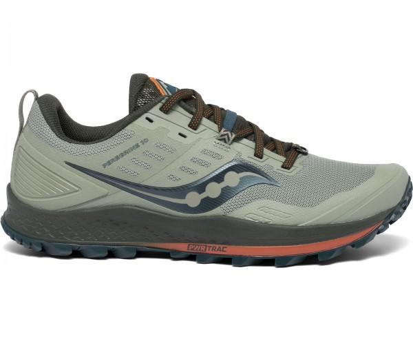 Saucony PEREGINE 10 Herren Trail-Running Laufschuhe, Pine/Orange