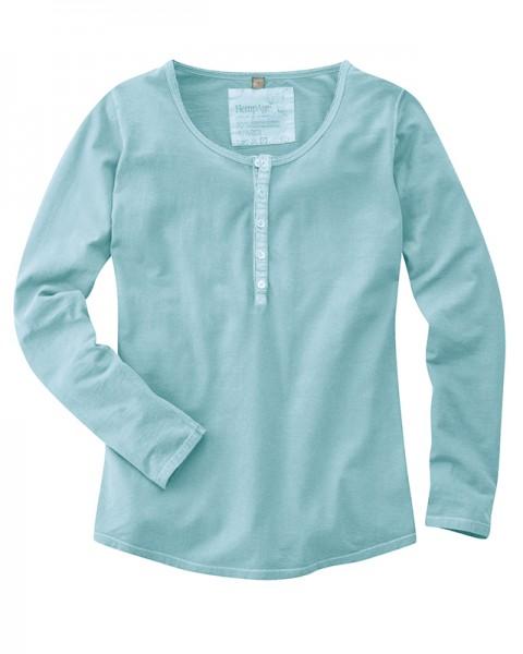 LONGSLEEVE Damen Langarm-Shirt mit Knopfleiste, Türkis