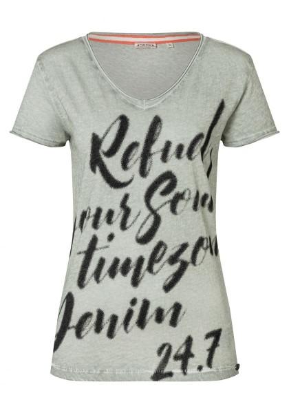 TIMEZONE PRINTED Damen T-Shirt, Storm Grey