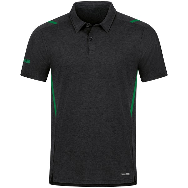 Jako CHALLENGE Herren Poloshirt, Schwarz Meliert/Sportgrün