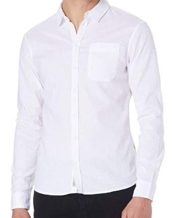 Blend Herren Leinen Hemd, Bright White