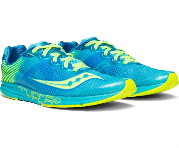 Saucony TYPE A8 Damen Road/Competition Laufschuh, Blue/Citron