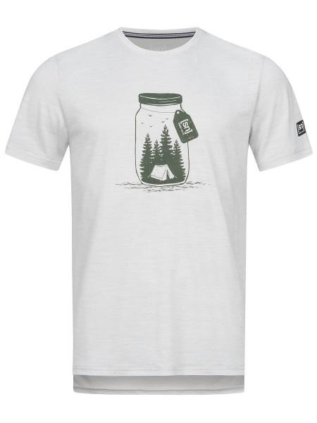 super.natural GRAPHIC TEE Herren T-Shirt, Light Grey Melange/Millitary Go Camping