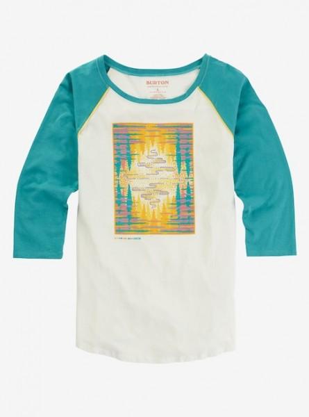 Burton ASHMORE RAGLAN Damen T-Shirt, Stout White/Green-Blue Slate