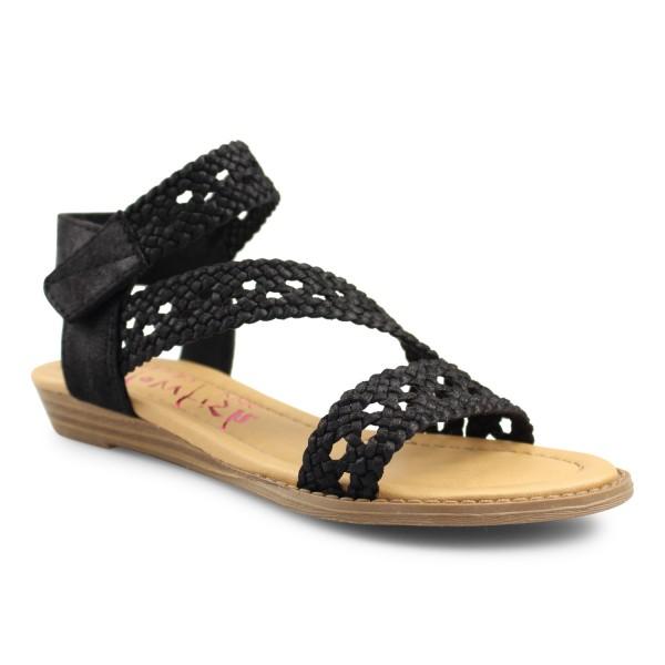 Blowfish Malibu BESILLE Damen Sandale, Black Draped Microfiber