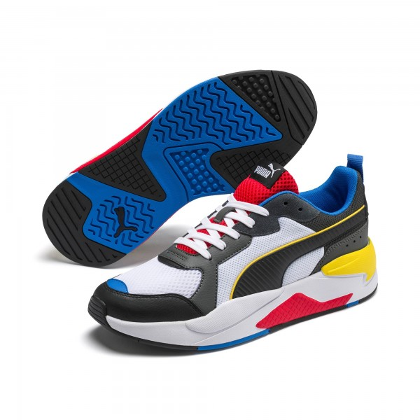 Puma X-RAY Unisex Sneaker, White-Blk-Dk/Shadow-Red-Blue