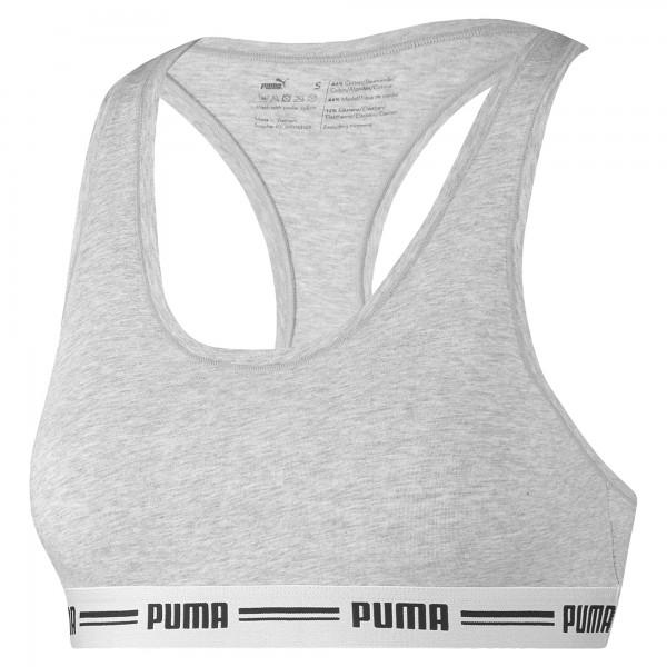 Puma ICONIC RACER BACK TOP Damen Sport-BH, Grey Melange