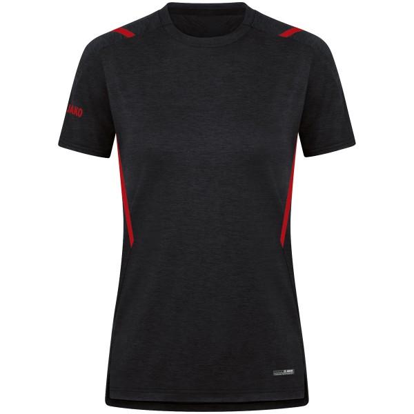 Jako CHALLENGE Damen T-Shirt, Schwarz Meliert/Rot