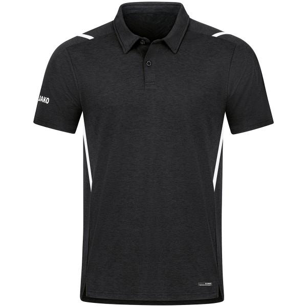 Jako CHALLENGE Herren Poloshirt, Schwarz Meliert/Weiß