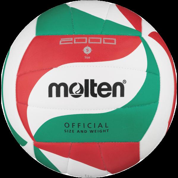 molton V5M2000 Unisex Trainingsball, Weiß/Grün/Rot