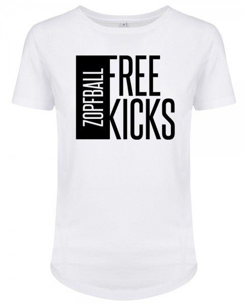zopfball FSSBLL FREE KICKS-SHIRT WOMEN`S CUT Damen T-Shirt, White