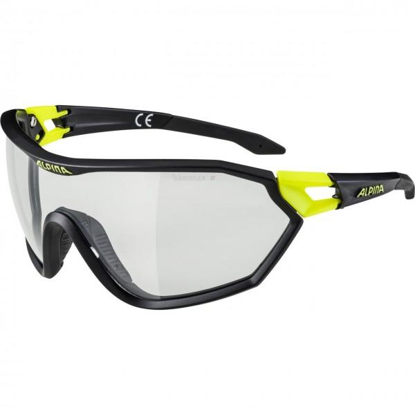 Alpina S-WAY VL+ Unisex Sportbrille, Black Matt-Neon Yellow