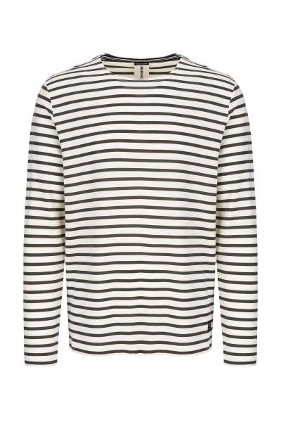 super.natural TRAVEL CREW PRINT Herren Sweatshirt, Fresh White/Killer Khaki Fine Stripe Print
