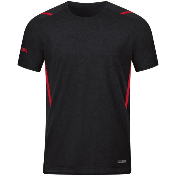 Jako CHALLENGE Herren T-Shirt, Schwarz Meliert/Rot