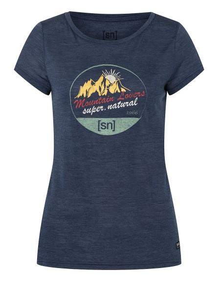 SNWP03019Q78 super.natural W ADVENTURE TEE Damen T-Shirt, Blue Iris Melange/Various