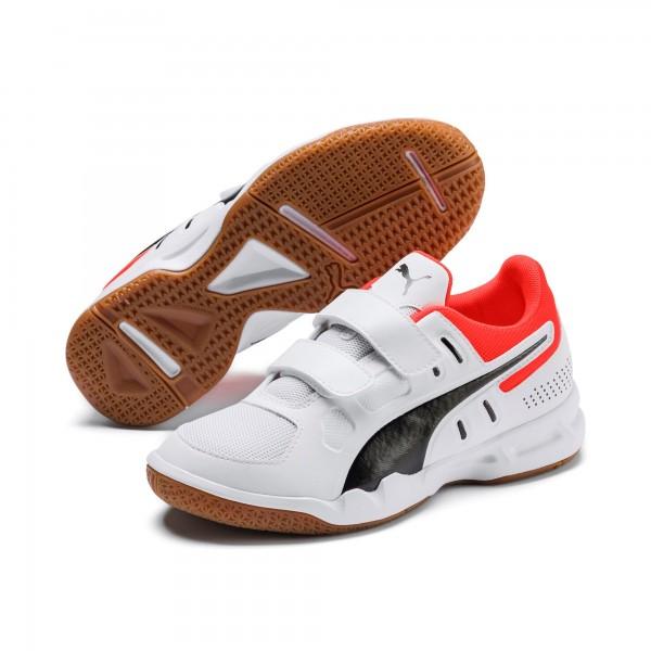 Puma AURIZ V JR Kinder Indoor Sportschuh, Puma White/Puma Black/Nrgy Red