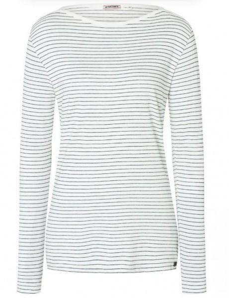 TIMEZONE Damen Lurex Streifen Langarmshirt, Grey White/Lurex Stripe