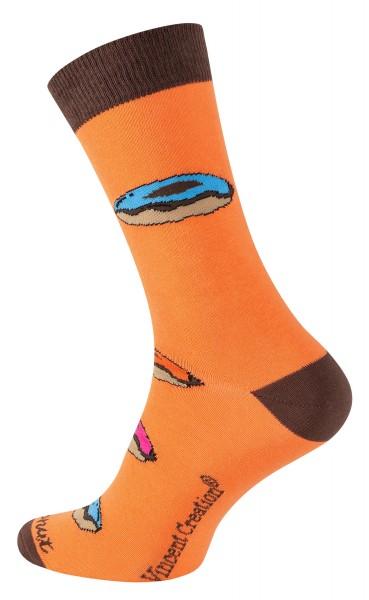 2164 Vincent Creation® DONUT Unisex Casual Socken, Orange/Braun