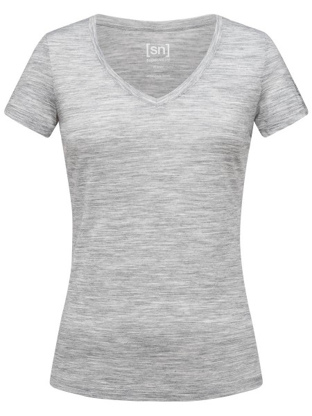 super.natural BASE V-NECK TEE Damen Baselayer, Ash Melange
