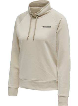 hummel HMLDAMARA Damen Sweatshirt mit Stehkragen, Bone White
