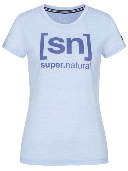 super.natural ESSENTIAL I.D. Damen T-Shirt, Skyway Melange/Coastal Fjord Logo