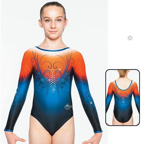 1570 C2 Agiva MAT LOOK PRINTED Mädchen Gymnastik-/Turnanzug, Orange/Blue