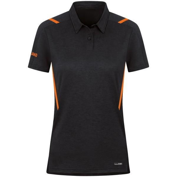 Jako CHALLENGE Damen Poloshirt, Schwarz Meliert/Neonorange