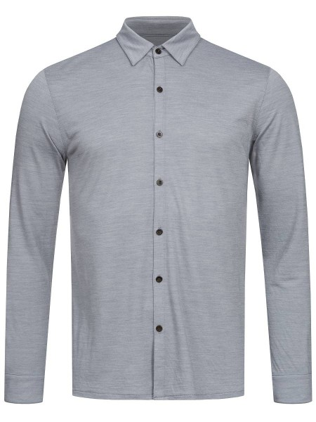 super.natural EVERYDAY SHIRT Herren Polohemd, Silver Grey Melange