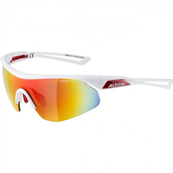 Alpina NYLOS SHIELD Unisex Sportbrille, White Red