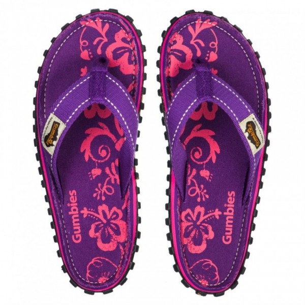 Gumbies PURPLE HIBISCUS Damen Zehentrenner/Strandsandale, Purple