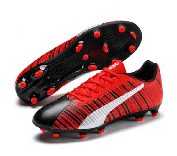 Puma ONE 5.4 FG/AG Herren Fußballschuhe, Black-Nrgy Red-Aged Silver