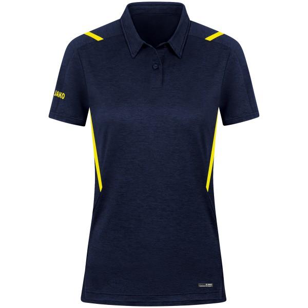 Jako CHALLENGE Damen Poloshirt, Marine Meliert/Neongelb