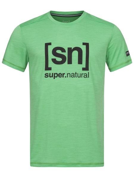 super.natural LOGO TEE Herren T-Shirt, Greenbriar Melange/Jet Black Logo