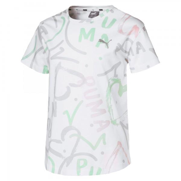 Puma ALPHA TEE Mädchen T-Shirt, Puma White/AOP