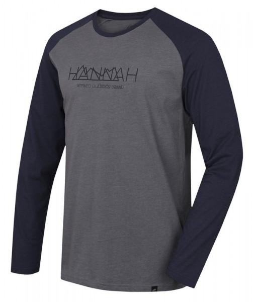 220-045-B1556 Hannah BANTAM Herren Langarmshirt, Steel Gray Melange/Black Iris