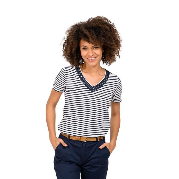 Oxbow TAMORA Damen T-Shirt, Marineblau und Weiß
