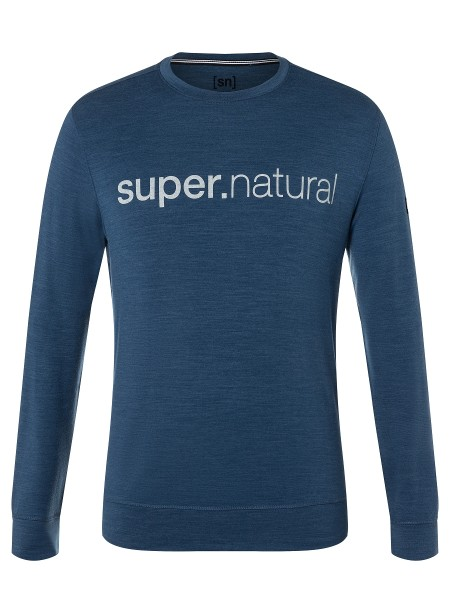 SNM013953Q06 super.natural M SIGNATURE CREW Herren Pullover, Dark Denim Melange/Jet Black