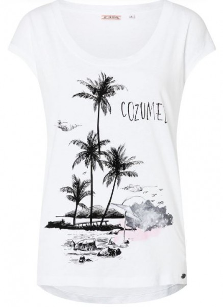TIMEZONE BEACH Print Damen T-Shirt, Pure White