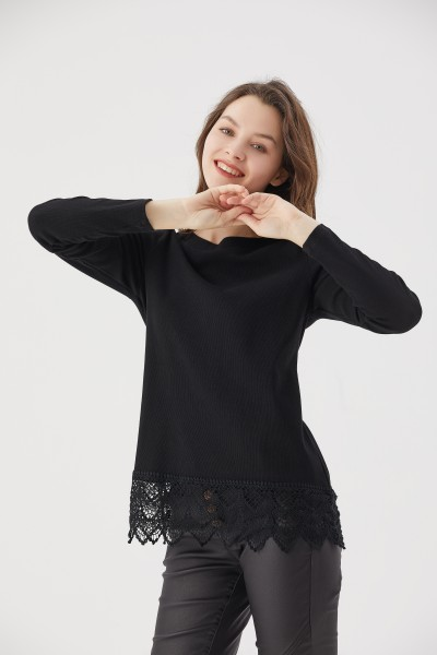 aiki Keylook FOR THE LACE Damen Pullover, Black