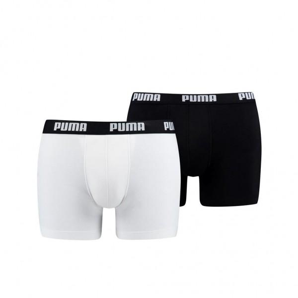 Puma BASIC Herren Boxer-Shorts 2er Pack, White/Black