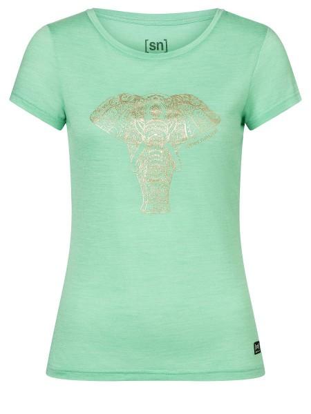 SNWP03001Q63 super.natural W YOGA POWER ELEPHANT Damen T-Shirt, Misty Green Melange/Gold