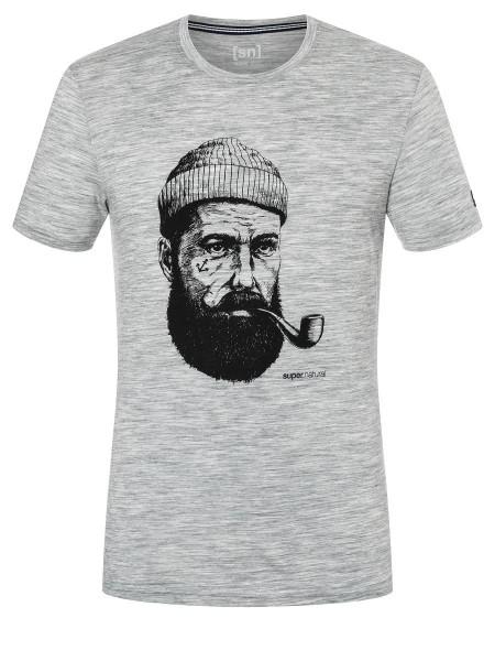 super.natural M SAILOR Herren T-Shirt, Ash Melange/Jet Black Sailor