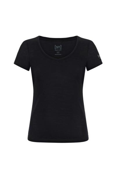 SNW003130872 super.natural W BASE V-NECK TEE 140 Damen T-Shirt (Shortsleeve), Black