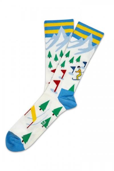 Moustard SKI SOCKS Unisex Socken, Weiss/Multicolor Gr. 41-46 (EU)
