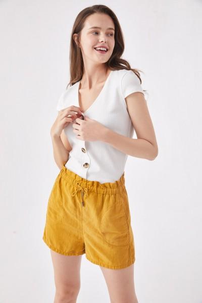 201-09-1064-11-1 aiki Keylook BUTTONS UP Damen Kurzarm-Shirt, Offwhite