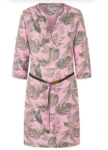 TIMEZONE Damen Hemdblusenkleid, Pink Philo Leaves