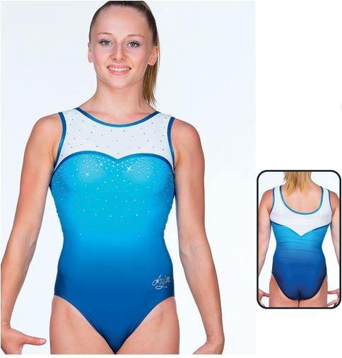 8691 C3 Agiva MAT LOOK PRINTED Damen Gymnastik-/Turnanzug, Blue/White