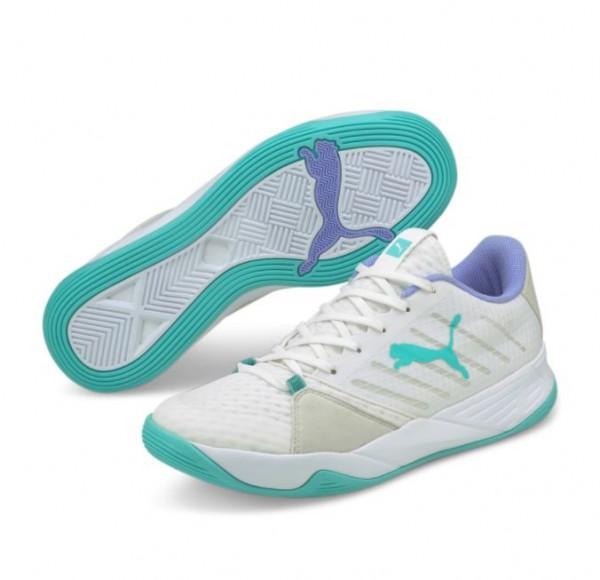 Puma ACCELERATE PRO W+ Damenschuh, Puma White / Elektro Aqua / Elektro Purple