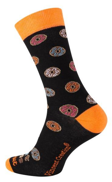 2164 Vincent Creation® DONUT Unisex Casual Socken, Schwarz/Orange