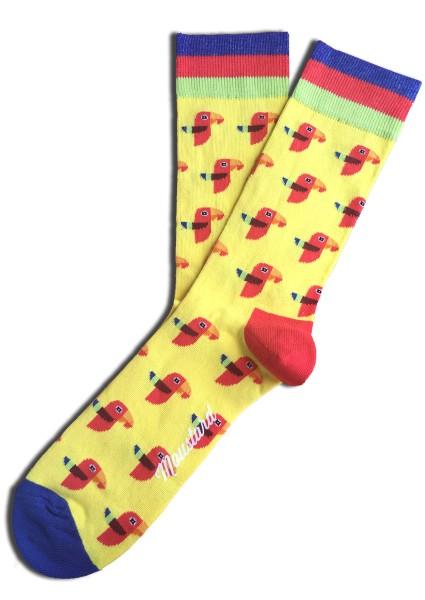 Moustard PARROT SOCKS Unisex Socken, Gelb/Multicolor Gr. 36-40 (EU)